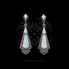 Luke Stockley Marcasite & White Opal Earrings (HE106-OPAL) front
