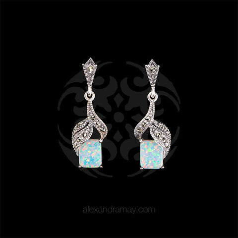 Luke Stockley Marcasite & White Opal Drop Earrings (HE230)