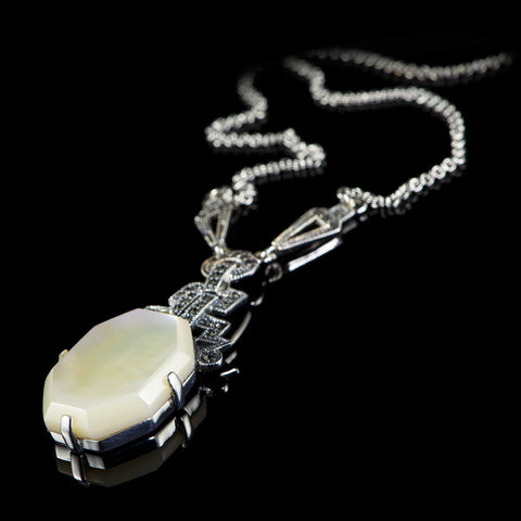 Luke Stockley Marcasite Art Deco Mother of Pearl Pendant Necklace (N117MOP) side1
