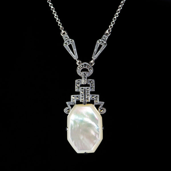 Luke Stockley Marcasite Art Deco Mother Of Pearl Pendant