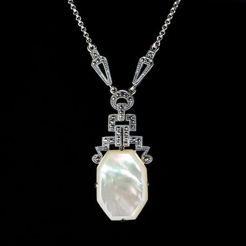 Luke Stockley Marcasite Art Deco Mother of Pearl Pendant Necklace (N117MOP)