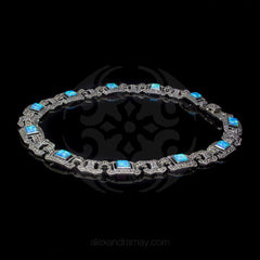 Luke Stockley Marcasite Blue Opal Hexagonal Link Necklace (NE47BOP) front