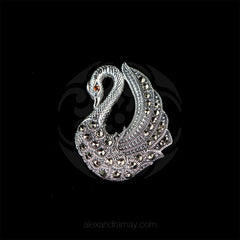 Luke Stockley Sterling Silver & Marcasite Swan Pendant Brooch (HB499)