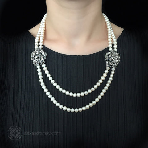 Luke Stockley Marcasite & Pearl Double Rose Necklace (NE8PL) model