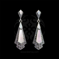 Luke Stockley Marcasite Mother of Pearl Classic Art Deco Drop Earrings (HE106MOP)