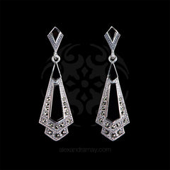 Luke Stockley Marcasite Black Onyx Classic Art Deco Drop Earrings (HE106 O)