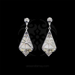 Luke Stockley Marcasite Art Deco Mother of Pearl Drop Earrings (SME1355MOP) back