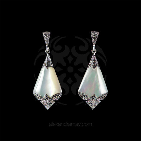 Luke Stockley Marcasite Art Deco Mother of Pearl Drop Earrings (SME1354MOP)