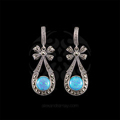 Luke Stockley Marcasite Blue Opal Bow Drop Earrings (HE714B/OP)