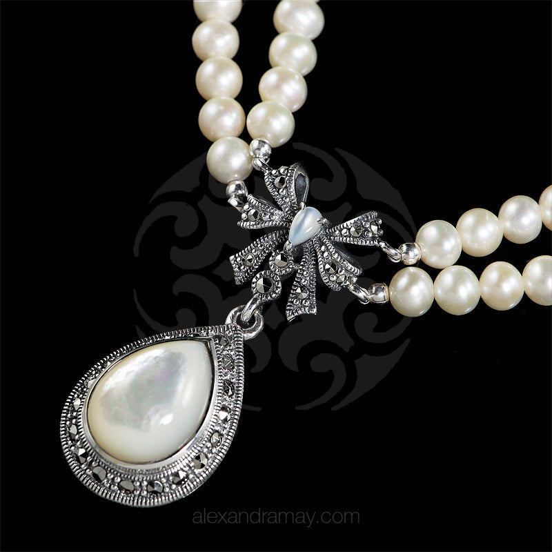 Luke Stockley Marcasite Pearl & Mother of Pearl Bow Necklace (FBN012MOP) detail