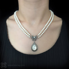 Luke Stockley Marcasite Pearl & Mother of Pearl Bow Necklace (FBN012MOP) model