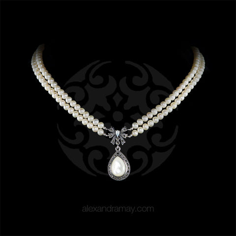 Luke Stockley Marcasite Pearl & Mother of Pearl Bow Necklace (FBN012MOP) front