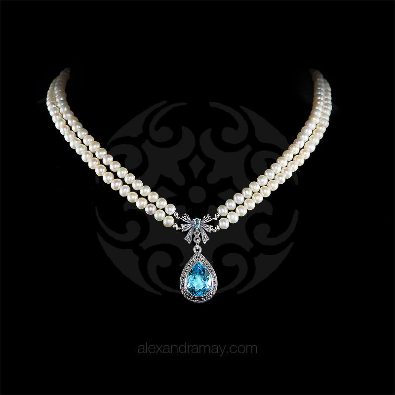 Luke Stockley Marcasite Pearl & Topaz Bow Necklace (FBN012BT)