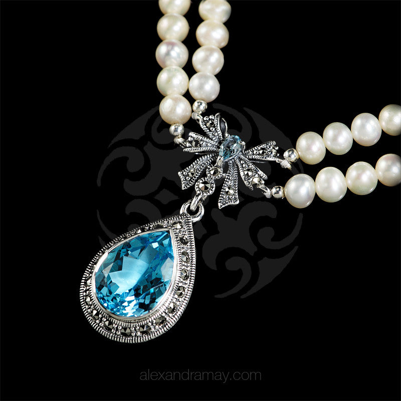 Luke Stockley Marcasite Pearl & Topaz Bow Necklace (FBN012BT) detail