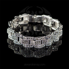 Luke Stockley Marcasite Art Deco Bricks Link Bracelet (BR162)