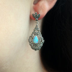 Luke Stockley Marcasite Blue Opal Fretwork Earrings (HE112OP)