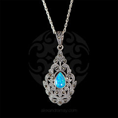 Luke Stockley Marcasite Blue Opal Fretwork Pendant (HE521OP)