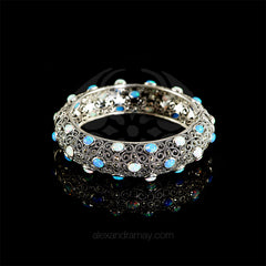 Luke Stockley Marcasite & Opal Lacework Bangle (BG158OP) front