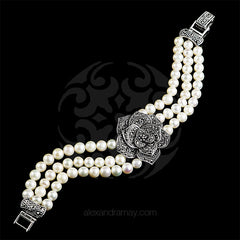Luke Stockley Marcasite & Pearl Single Rose Bracelet (FPB1PL) detail 1