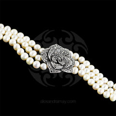 Luke Stockley Marcasite & Pearl Single Rose Bracelet (FPB1PL) detail 2