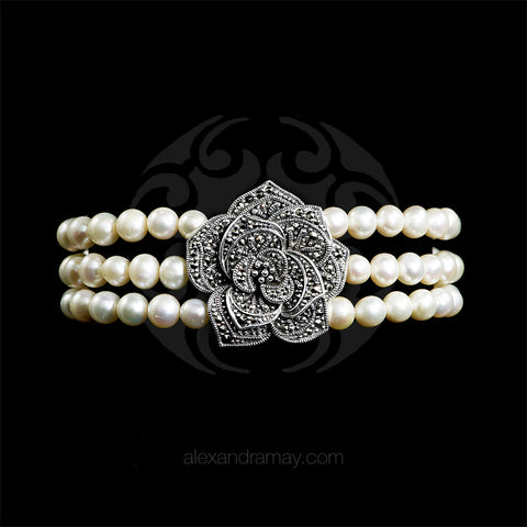 Luke Stockley Marcasite & Pearl Rose Bracelet (FPB1PL)