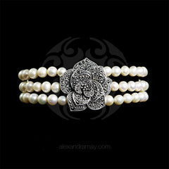 Luke Stockley Marcasite & Pearl Single Rose Bracelet (FPB1PL) front