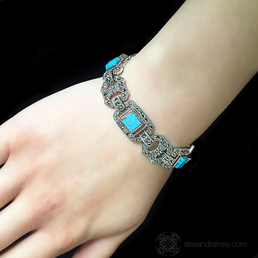 Luke Stockley Marcasite & Blue Opal Octagonal Link Bracelet (BR47BOP) model