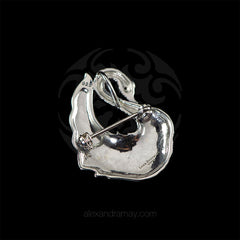Luke Stockley Sterling Silver & Marcasite Swan Pendant Brooch (HB499) back