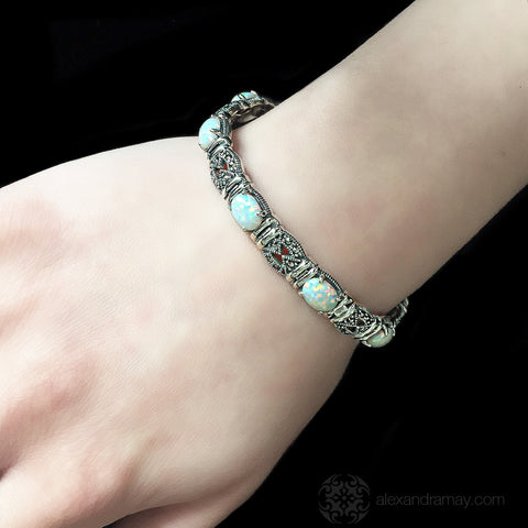 Luke Stockley Marcasite White Opal Slim Fretwork Bracelet (BR54OP)