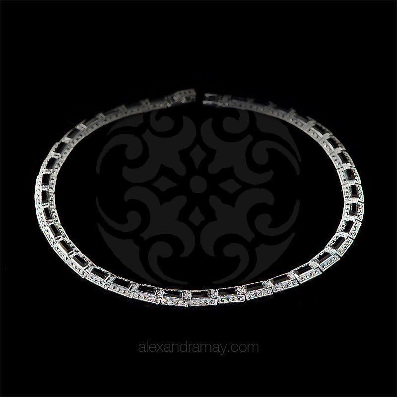 Luke Stockley Marcasite Black Onyx Rectangular Link Necklace (NE261O)