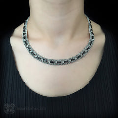 Luke Stockley Marcasite Black Onyx Rectangular Link Necklace (NE261O) model