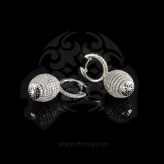 Lustre of London Silver Honeycomb Beehive Earrings (EA12CVW)