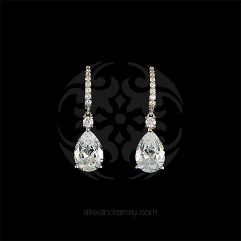 Lustre of London Small Silver Pear Drop Earrings (E37CVW) front