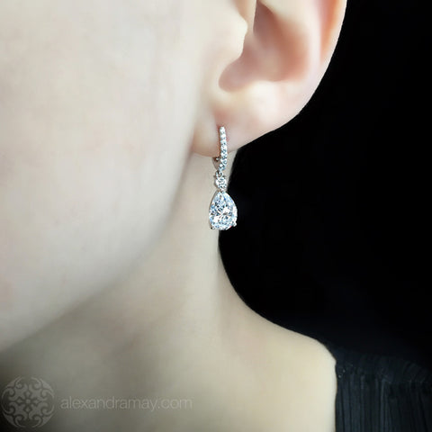 Lustre of London Small Silver Pear Drop Earrings (E37CVW) model