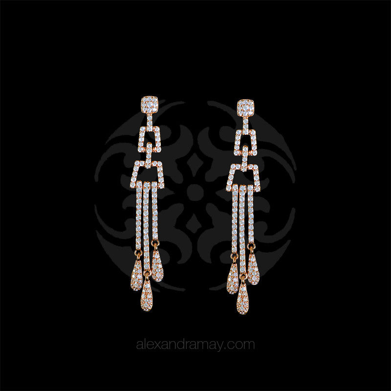 Lustre of London Rose Gold Chandelier Earrings (EA03CVR)