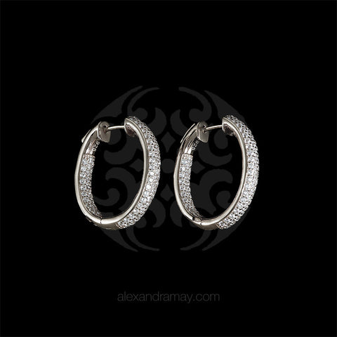 Lustre of London Silver Mid Oval Hoop Earrings (EA04CVW)