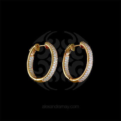 Lustre of London Yellow Gold Mid Oval Hoop Earrings (EA04CVY)