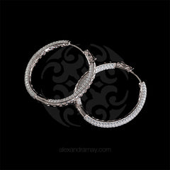 Lustre of London Silver Large Oval Hoop Earrings (EA06CVW) side