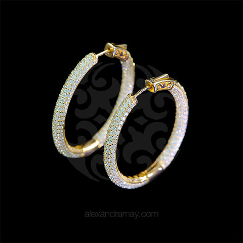 Lustre of London Yellow Gold Large Oval Hoop Earrings (EA06CVY)