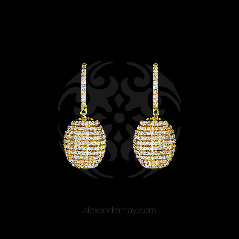 Lustre of London Yellow Gold Honeycomb Beehive Earrings (EA12CVY)