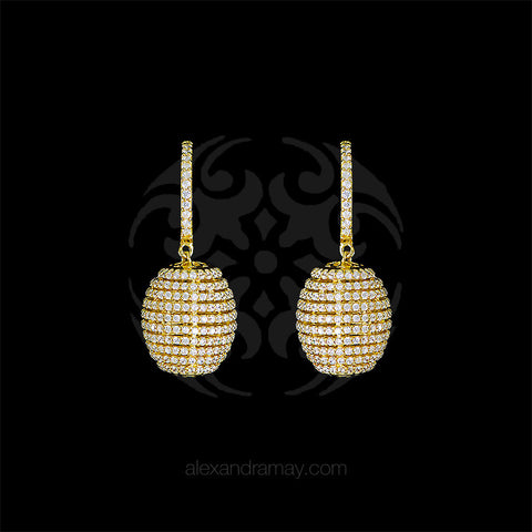 Lustre of London Yellow Gold Honeycomb Beehive Earrings (EA12CVY) front