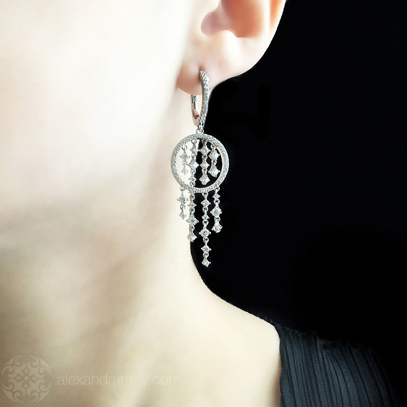 Lustre of London Silver Cascade Drop Earrings (EA14CVW) model