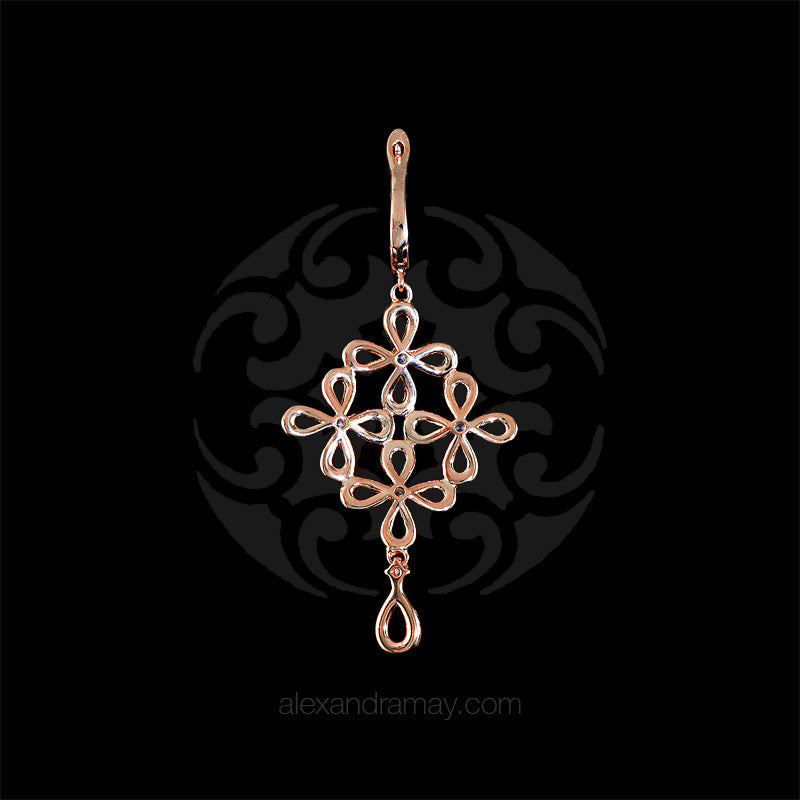 Lustre of London Rose Gold Flower Drop Earrings (EA15CVR)