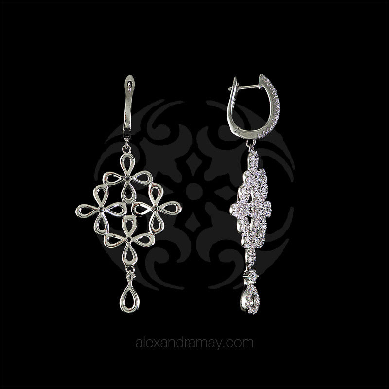 Lustre of London Silver Flower Drop Earrings (EA15CVW)