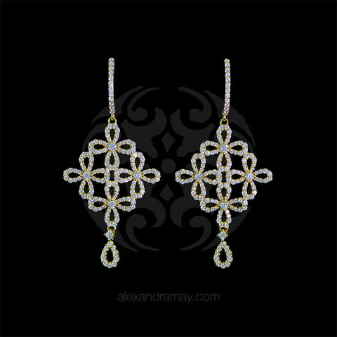Lustre of London Yellow Gold Flower Drop Earrings (EA15CVY)