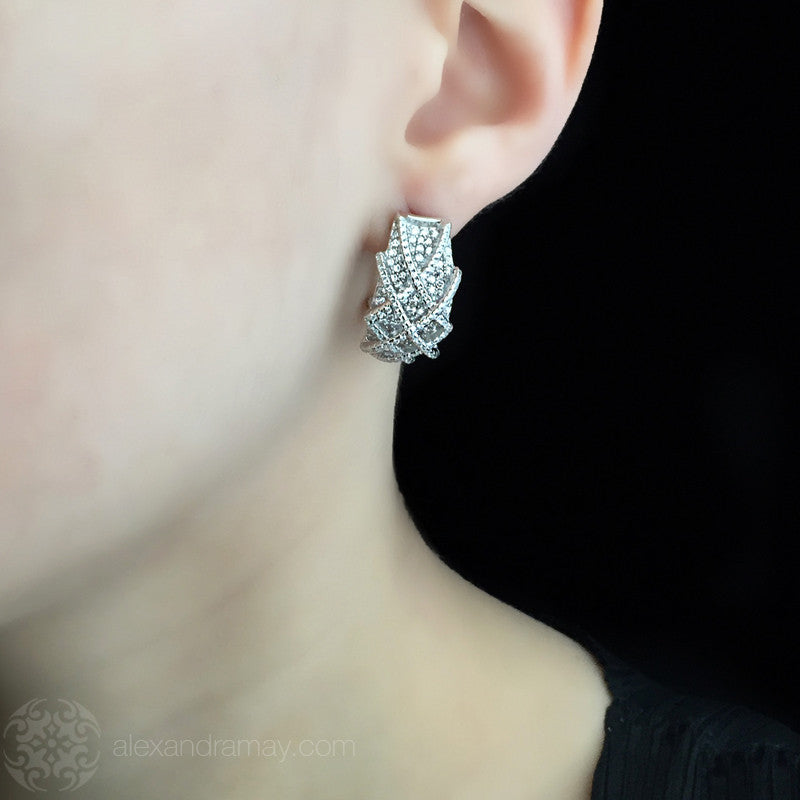 Lustre of London Silver Creole Basket Weave Hoop Earrings (EA16CVW)