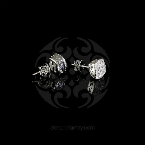 Lustre of London Silver Cushion Square Stud Earrings (EA17CVW) detail