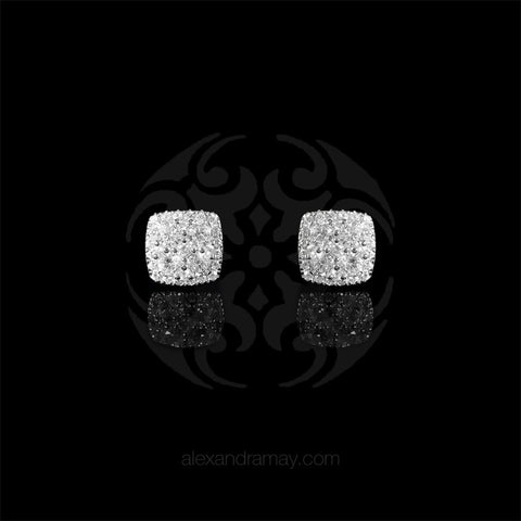 Lustre of London Silver Cushion Square Stud Earrings (EA17CVW) front