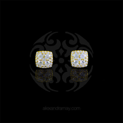 Lustre of London Yellow Gold Square Cluster Stud Earrings (EA17CVY)