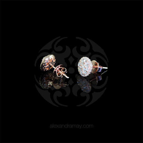 Lustre of London Rose Gold Round Cluster Stud Earrings (EA18CVR) detail